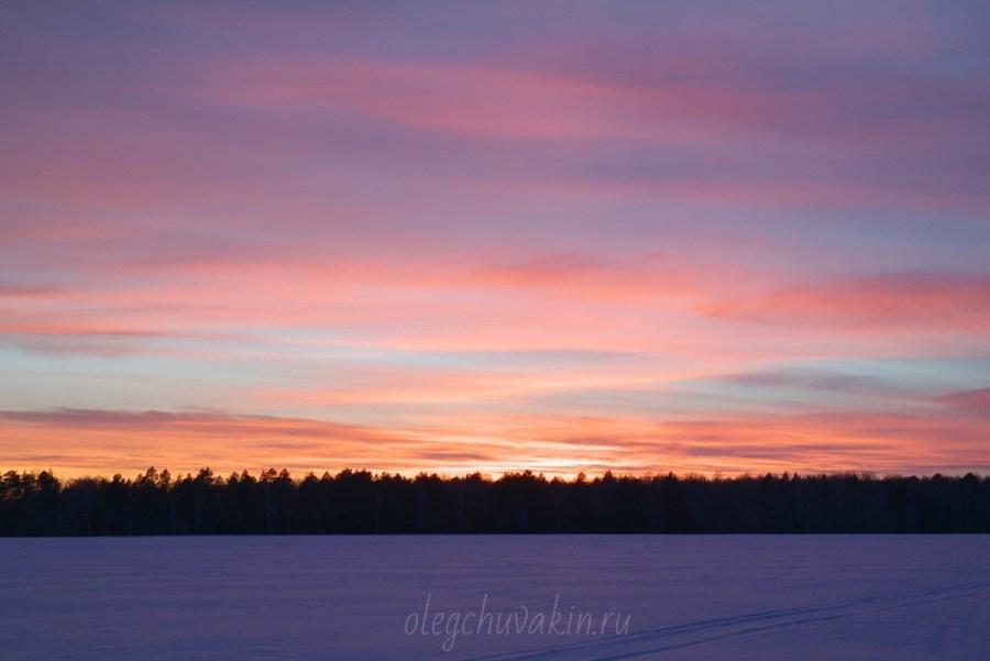 Красота заката, зимний закат, фото, Олег Чувакин