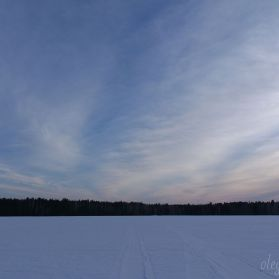 Март, Сибирь, закатное небо