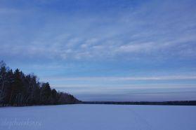 Небо на закате, март, снег, поле