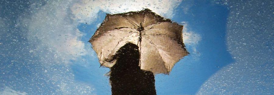 Девушка, дождь, небо, зонт, фотоиллюстрация