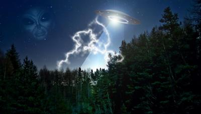 """Летающая тарелка, лес, инопланетянин, пришелец, фантастическая повесть """"Кинотеатр"""""""