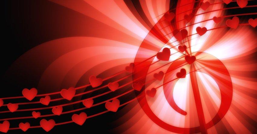Скрипичный ключ, сердца, песня