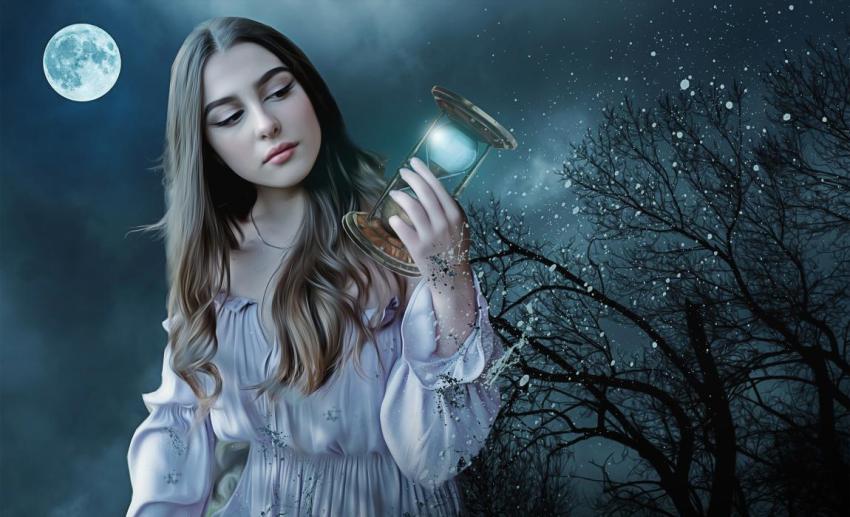 Магия, готика, песочные часы, девушка, любовь, луна