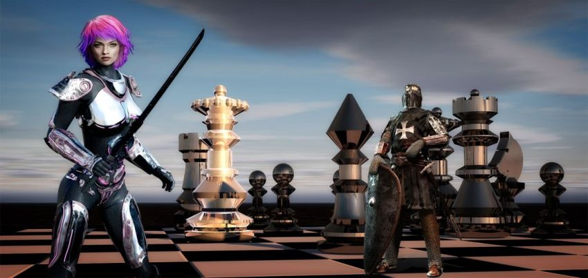 Женщина, шахматная доска, рыцарь, история, коллаж