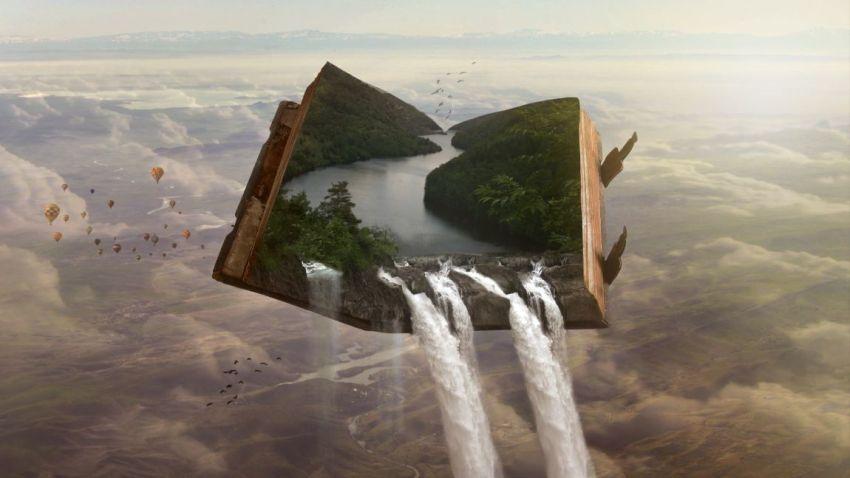Книга раскрытая, небо, водопад с неба, земля, фантастика, романтика, любовь, рассказы