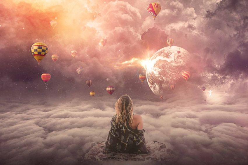 Небо, девушка, шары, фантастика, фэнтези, любовь