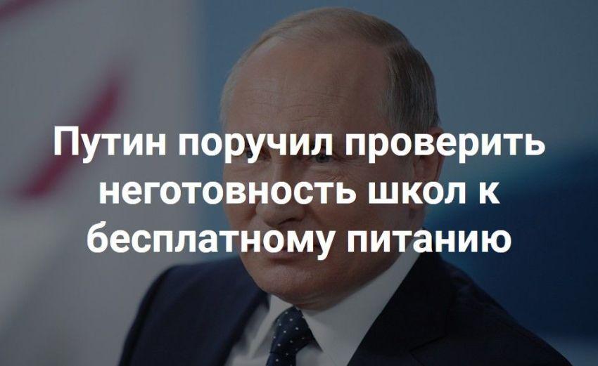 Путин, президент, проверить, неготовность школ к бесплатному питанию, заголовок в прессе