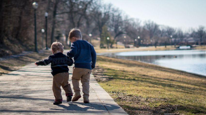 Дети, мальчики, братья, на прогулке, старший и младший, счастливые