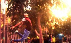 Футбол. мяч, футболист, мальчик, счастливый, солнце, жизнь