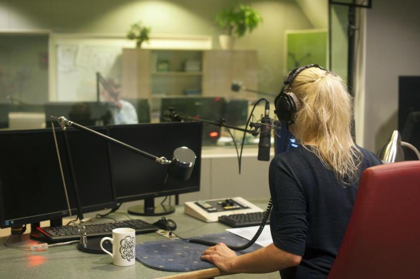 Интервью, радио, женщина, знаменитость, журналистка
