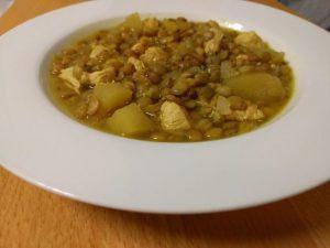 Lentejas con curry y manzana