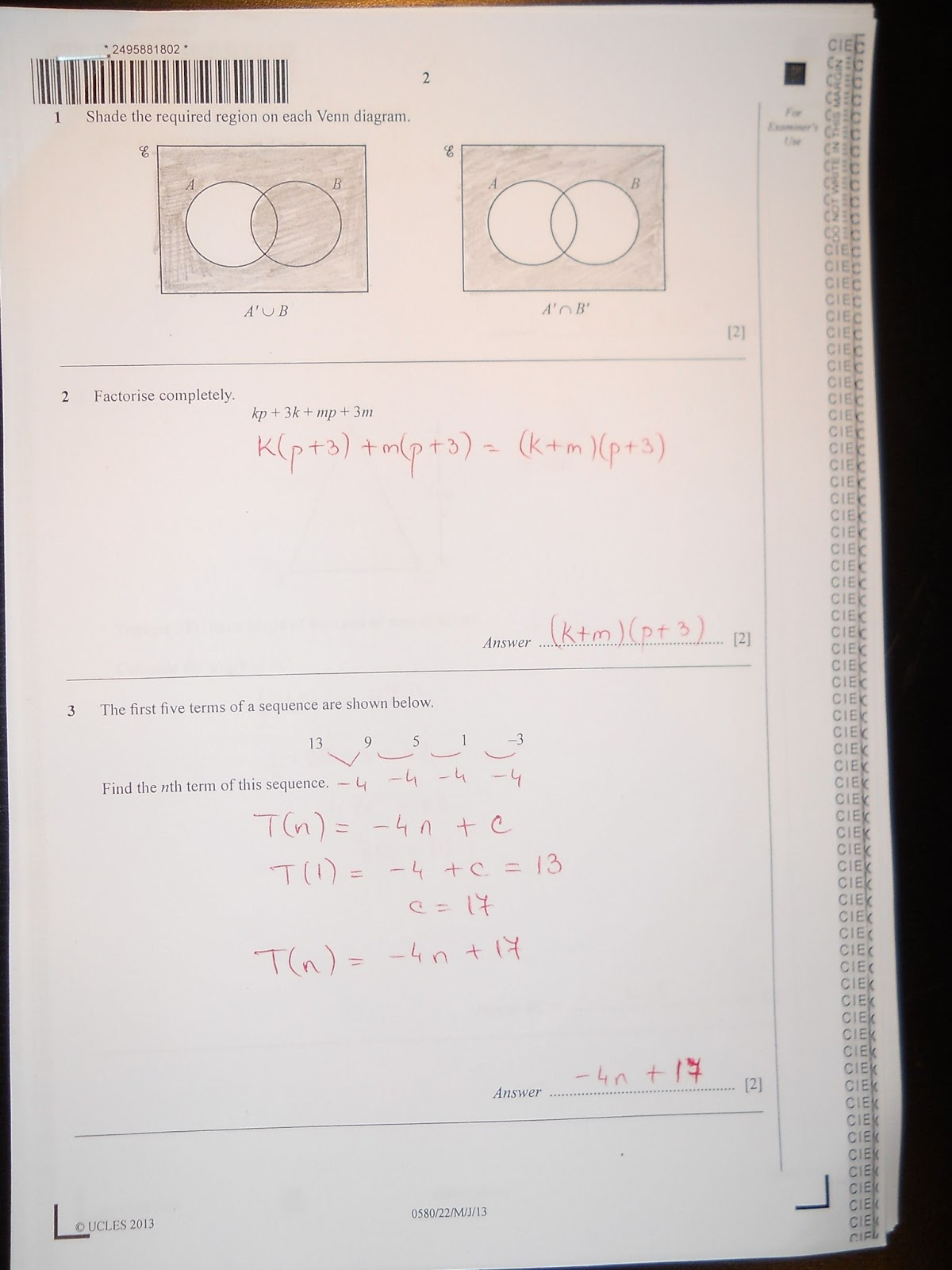 Maths Paper 2 Extended May June