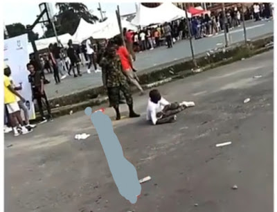 Boy beaten by soldier