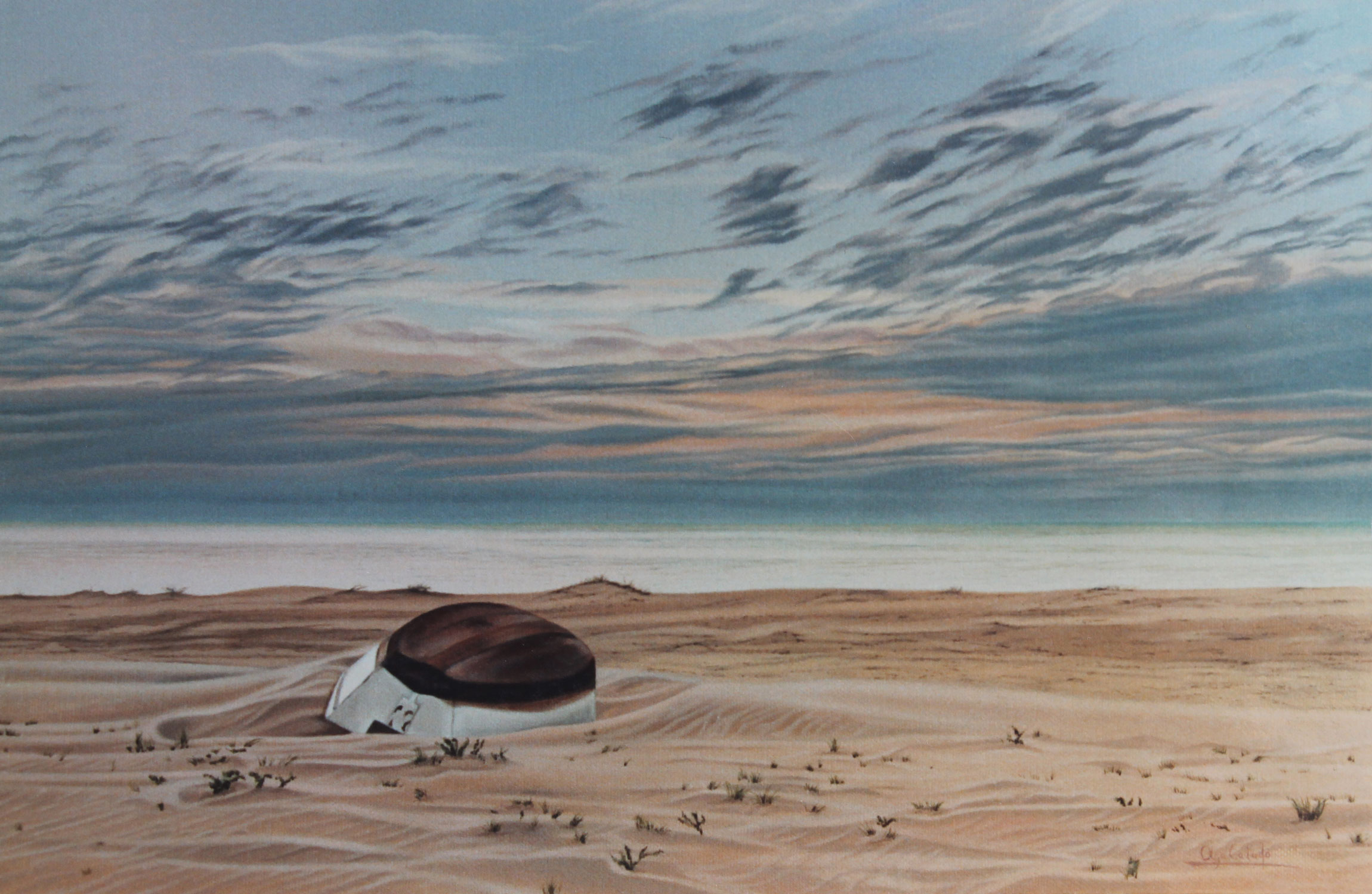 Painting of a boat in the Sand Dunes of the beach in Sanlucar de Barrameda