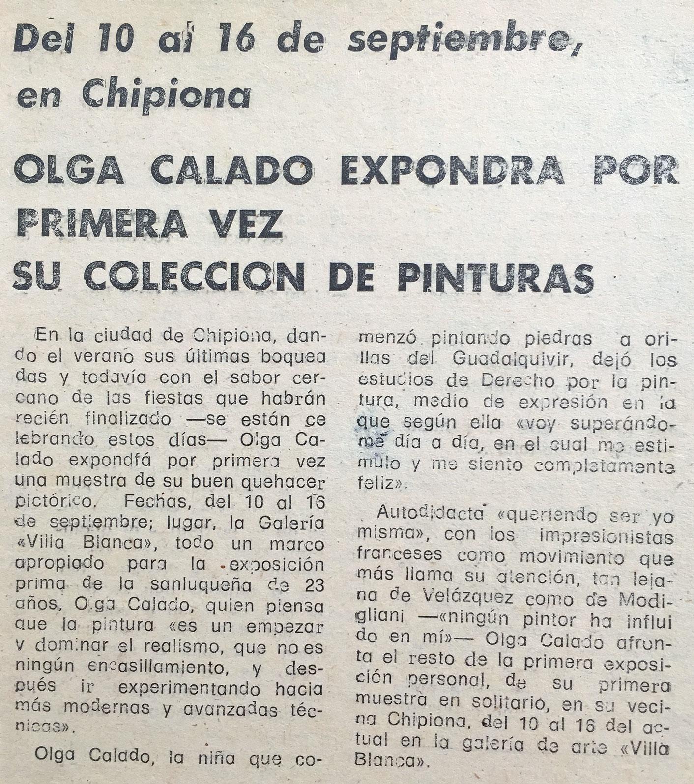 Article First Exhibition of Olga Calado