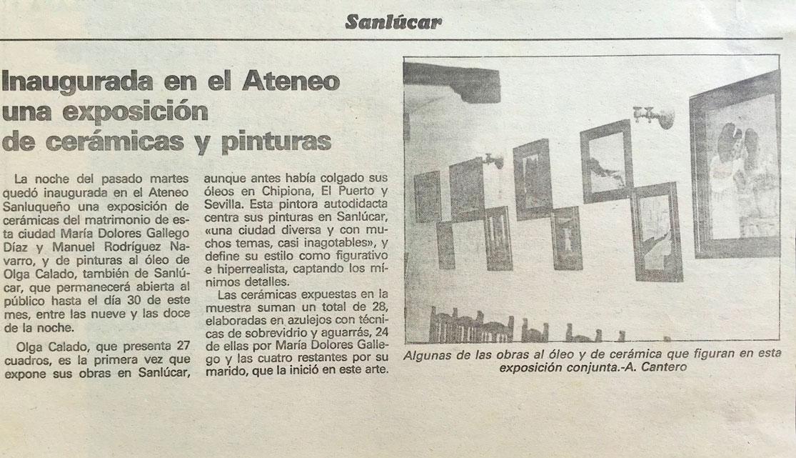 Article Olga Calado Colective Exhibition Ateneo Sanlucar de Barrameda