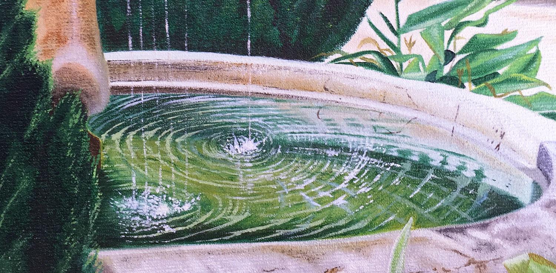 Urban Nature detail of splashing water of a fountain