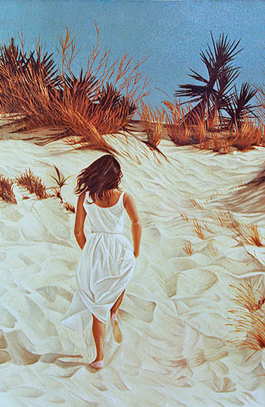 Painting of Girl running up the sand dune of the beach in La Jara