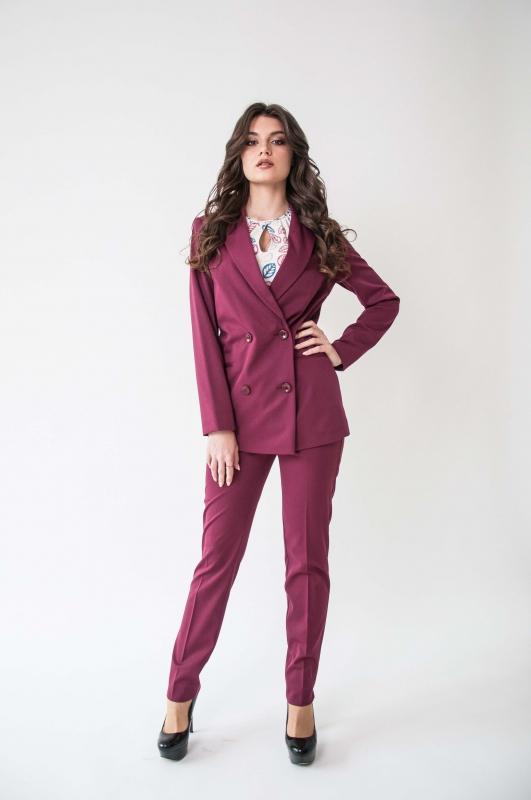 Двубортный пиджак бордо