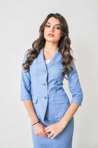 голубой пиджак лён