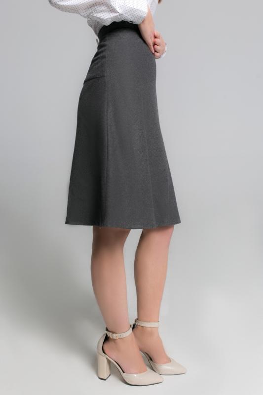 Темно-серая юбка-клеш