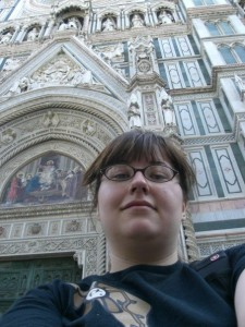 An early selfie taken on the steps of the Duomo, age 21.
