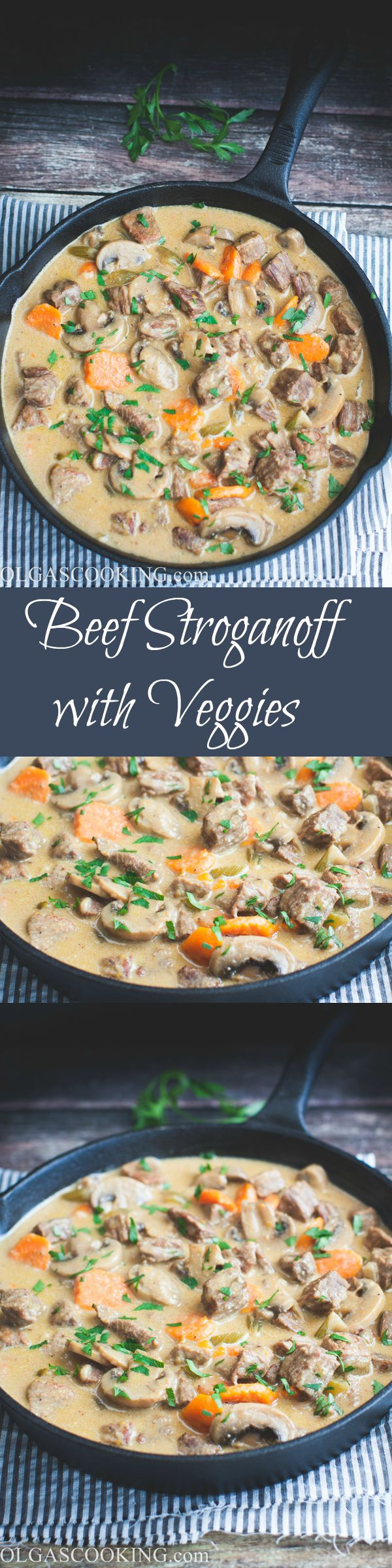 Oh this beef stroganoff with veggies is to die for! These soft beef chunks in creamy sauce accompanied by mushrooms, celery, and carrots and divine and delicious. I love how versatile this recipe is and can be used to top pretty much everything from mashed potatoes to plain rice to pasta. You'll be going for seconds in no time!