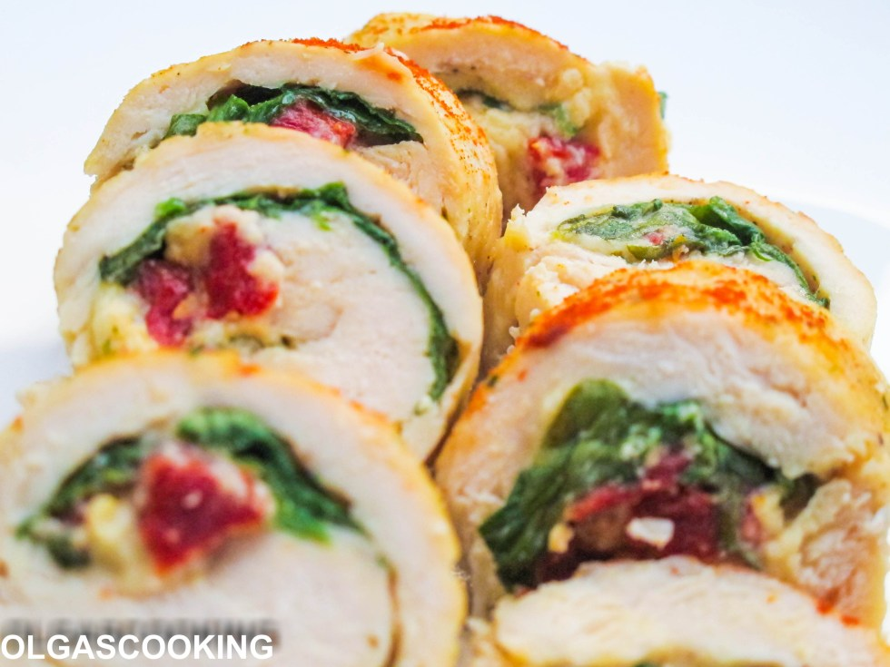 Spinach & Sun Dried Tomato Chicken Roll