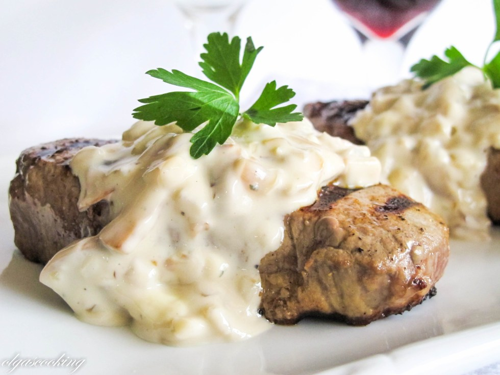 Filet Mignon with Blue Cheese & Mushroom Sauce