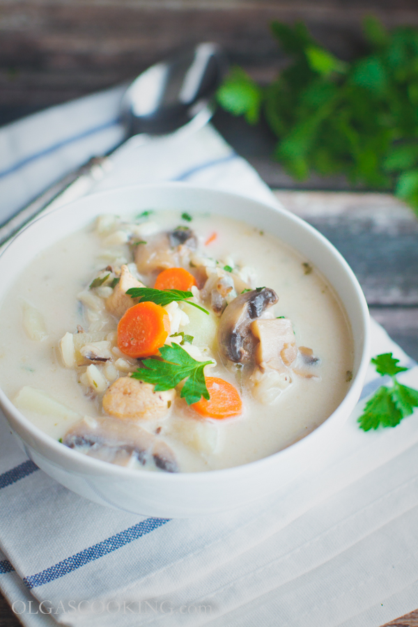 creamy wild rice and mushroom soup-9