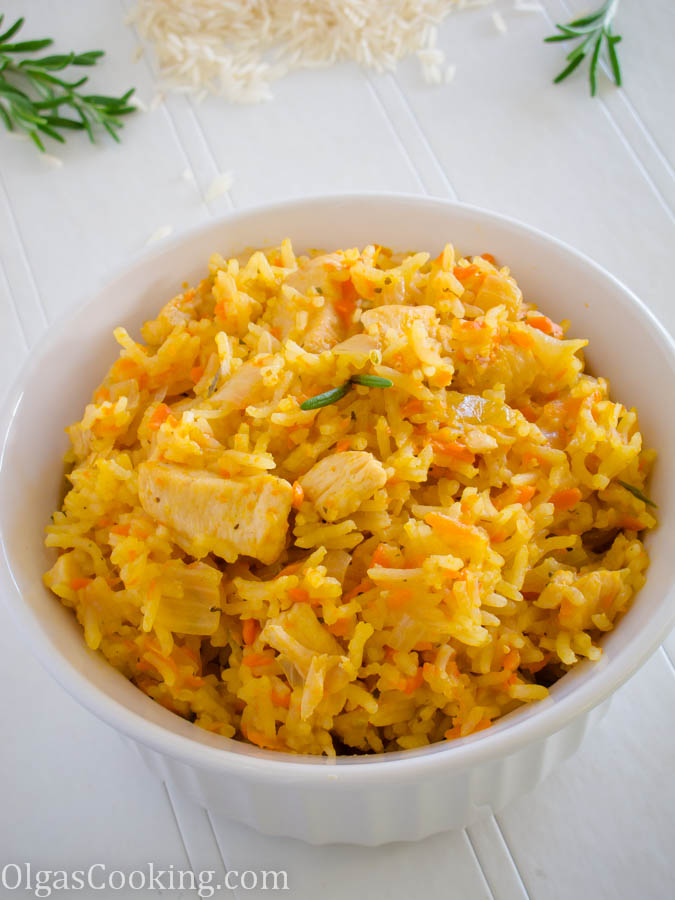 fluffy and flavorful rosemary rice with chicken