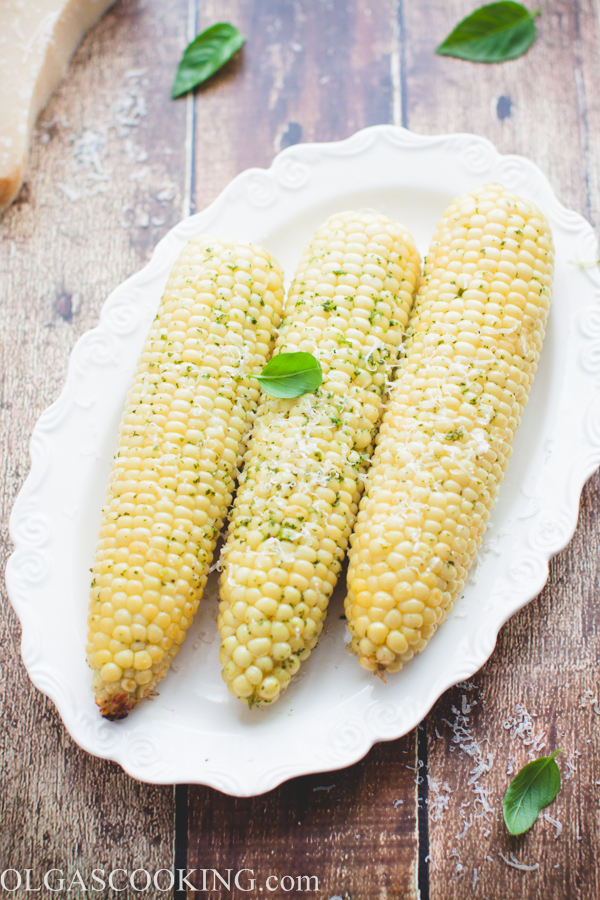 Corn on a Cob with Basil Butter