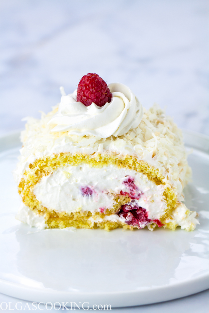 Coconut Raspberry Cake Roll