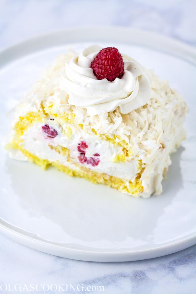Coconut Raspberry Cake Roll