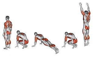 exercising-burpee-fitness-target-muscles-marked-red-initial-final-steps-47139270