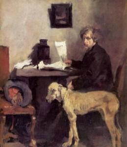Portrait-des-Sattler-mit-seiner-Dogge