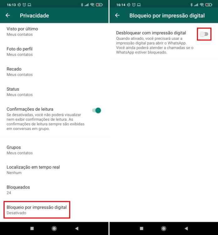 Como ativar a autenticação por biometria no WhatsApp Web - Passo 3