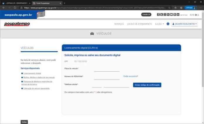 imagem da tela do site poupatempo