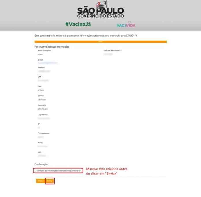 Como se cadastrar para a receber a vacina contra Covid-19 em São Paulo - Passo 4