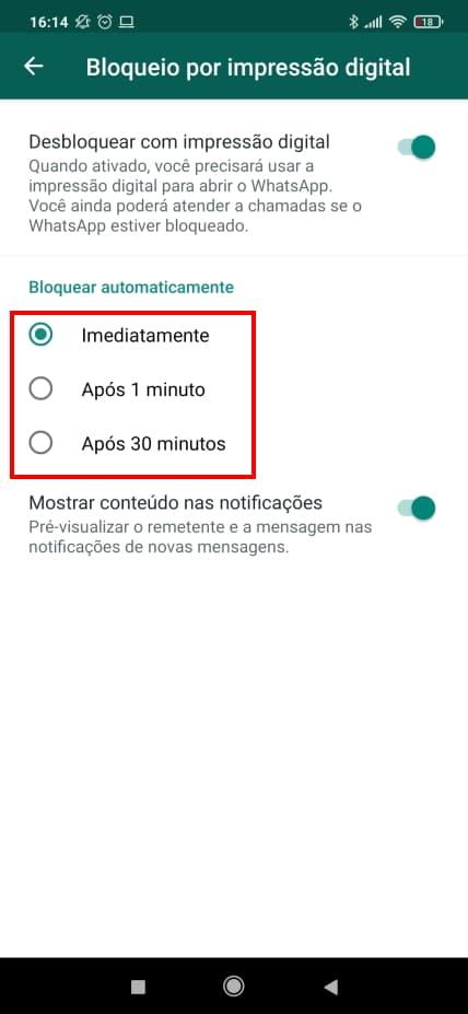 Como ativar a autenticação por biometria no WhatsApp Web - Passo 4