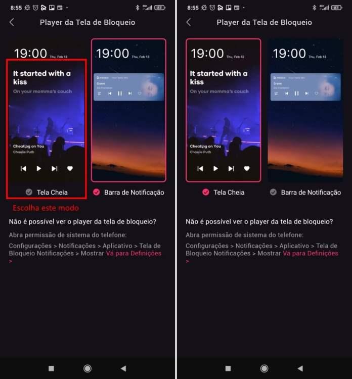 Como exibir a letra de músicas com o Resso na tela de bloqueio do Android - Passo 3
