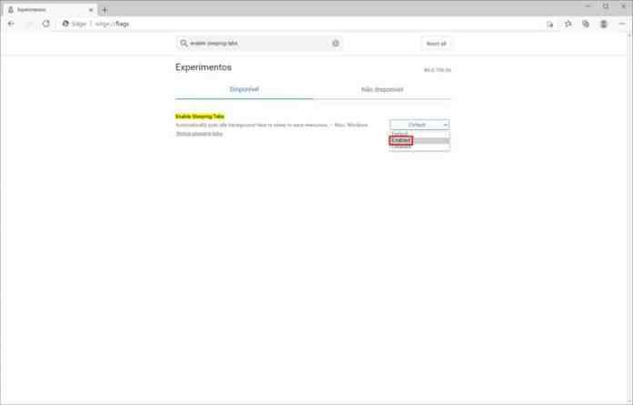Como ativar o recurso de guias inativas do Microsoft Edge - Passo 4
