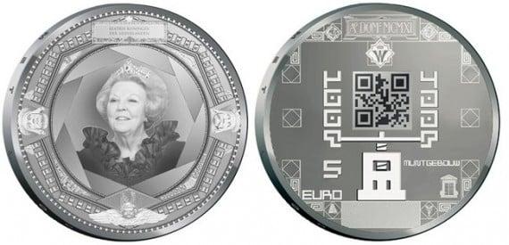 moedas holandesas com código QR
