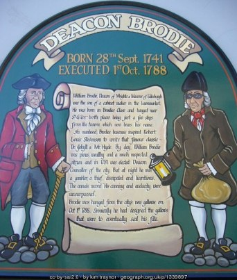 Deacon Brodie sign by Kim Traynor [Licence: CC BY-SA 2.0]
