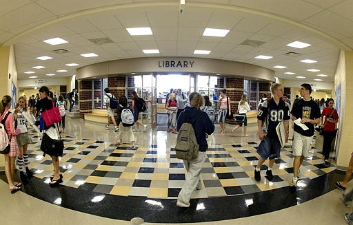 Students fill the halls of Olentangy Liberty High School (AP Photo/Jay LaPrete)