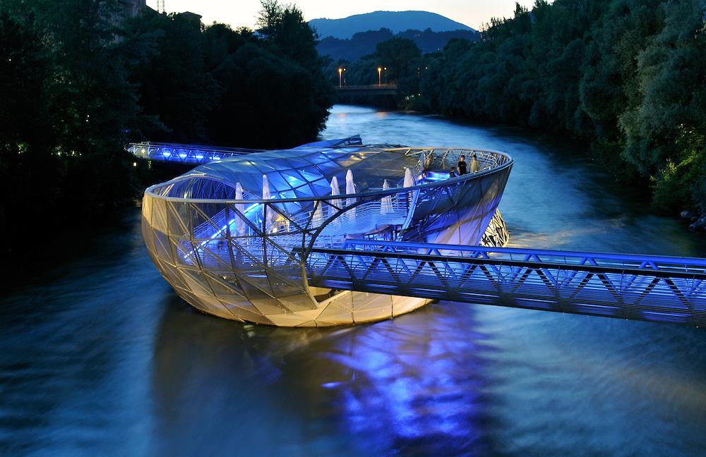 Futuristic Artificial Island in River Mur (Murinsel) Designed by Vito Acconci, Graz, Styria (Austria)