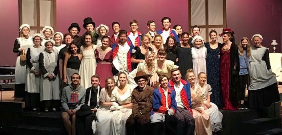 The cast of Pride and Prejudice poses for a picture after the show.