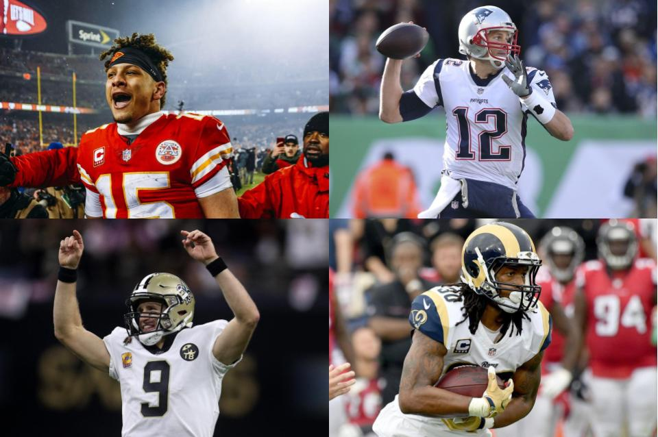 Patrick Mahomes (top left) and the Chiefs will play Tom Brady (top right) and the Patriots in the AFC championship, and Drew Brees (bottom left) and his Saints will face off against Todd Gurley III (bottom right) and the Rams in the NFC championship.