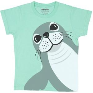 T-shirt van organisch katoen met zeehond