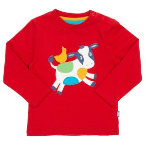 Rood shirt met springende koe en kip
